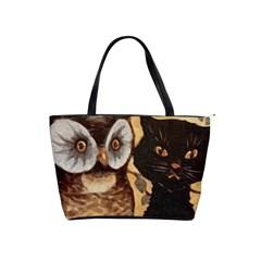 Owl And Black Cat Shoulder Handbags
