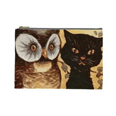 Owl And Black Cat Cosmetic Bag (Large)