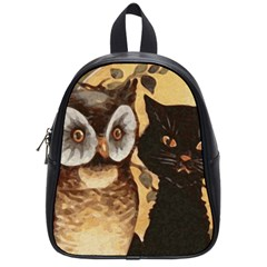 Owl And Black Cat School Bags (Small)