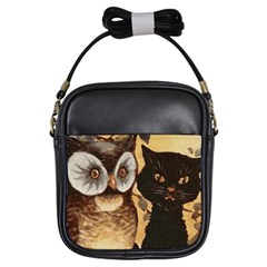Owl And Black Cat Girls Sling Bags