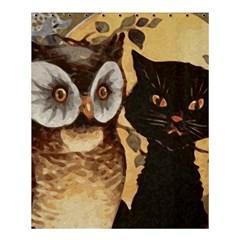 Owl And Black Cat Shower Curtain 60  x 72  (Medium)