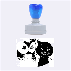 Owl And Black Cat Rubber Oval Stamps