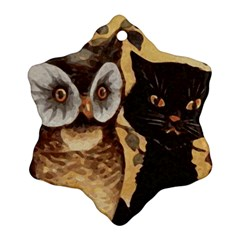 Owl And Black Cat Ornament (Snowflake)