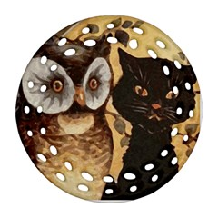 Owl And Black Cat Round Filigree Ornament (2Side)