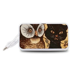 Owl And Black Cat Portable Speaker (White)