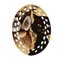 Owl And Black Cat Ornament (Oval Filigree)
