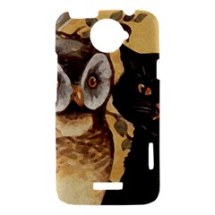 Owl And Black Cat HTC One X Hardshell Case