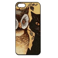 Owl And Black Cat Apple iPhone 5 Seamless Case (Black)