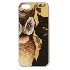 Owl And Black Cat Apple Seamless iPhone 5 Case (Clear)
