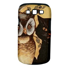 Owl And Black Cat Samsung Galaxy S III Classic Hardshell Case (PC+Silicone)