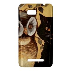 Owl And Black Cat HTC One SU T528W Hardshell Case