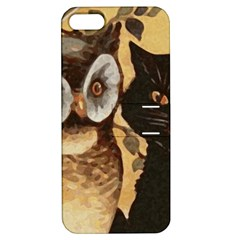 Owl And Black Cat Apple iPhone 5 Hardshell Case with Stand