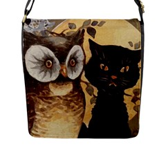 Owl And Black Cat Flap Messenger Bag (L)