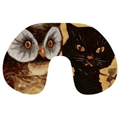 Owl And Black Cat Travel Neck Pillows