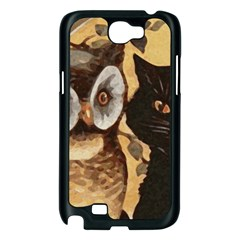 Owl And Black Cat Samsung Galaxy Note 2 Case (Black)