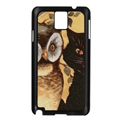 Owl And Black Cat Samsung Galaxy Note 3 N9005 Case (Black)