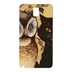 Owl And Black Cat Samsung Galaxy Note 3 N9005 Hardshell Back Case