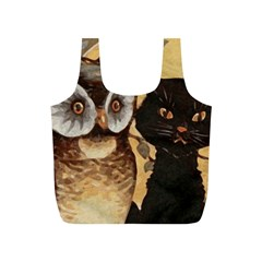 Owl And Black Cat Full Print Recycle Bags (S)
