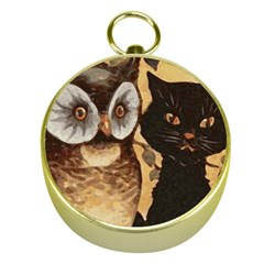Owl And Black Cat Gold Compasses