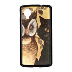 Owl And Black Cat Nexus 5 Case (Black)