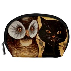 Owl And Black Cat Accessory Pouches (Large)