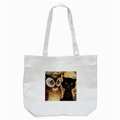 Owl And Black Cat Tote Bag (White)