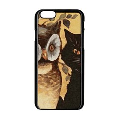 Owl And Black Cat Apple iPhone 6/6S Black Enamel Case