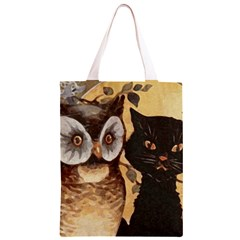 Owl And Black Cat Classic Light Tote Bag