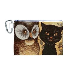 Owl And Black Cat Canvas Cosmetic Bag (M)