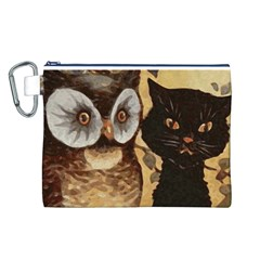 Owl And Black Cat Canvas Cosmetic Bag (L)