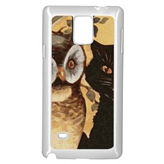 Owl And Black Cat Samsung Galaxy Note 4 Case (White)