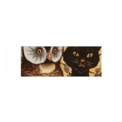 Owl And Black Cat Satin Scarf (Oblong)