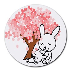 Rabbit Bunnies Animal Cute Tree Round Mousepads