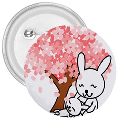 Rabbit Bunnies Animal Cute Tree 3  Buttons