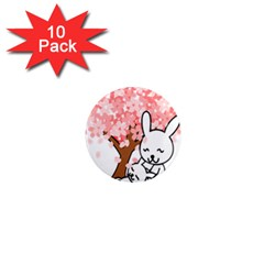 Rabbit Bunnies Animal Cute Tree 1  Mini Magnet (10 pack)