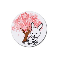 Rabbit Bunnies Animal Cute Tree Rubber Round Coaster (4 pack)