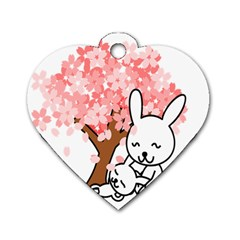 Rabbit Bunnies Animal Cute Tree Dog Tag Heart (One Side)