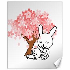 Rabbit Bunnies Animal Cute Tree Canvas 11  x 14