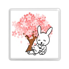 Rabbit Bunnies Animal Cute Tree Memory Card Reader (Square)