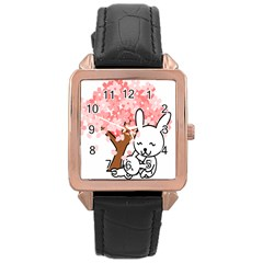 Rabbit Bunnies Animal Cute Tree Rose Gold Leather Watch