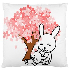 Rabbit Bunnies Animal Cute Tree Large Flano Cushion Case (One Side)