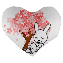Rabbit Bunnies Animal Cute Tree Large 19  Premium Flano Heart Shape Cushions