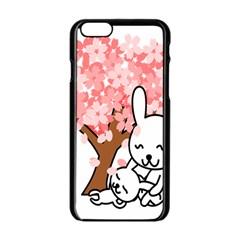 Rabbit Bunnies Animal Cute Tree Apple iPhone 6/6S Black Enamel Case