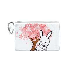 Rabbit Bunnies Animal Cute Tree Canvas Cosmetic Bag (S)