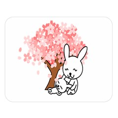 Rabbit Bunnies Animal Cute Tree Double Sided Flano Blanket (Large)