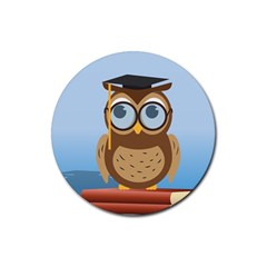 Read Owl Book Owl Glasses Read Rubber Coaster (Round)