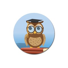 Read Owl Book Owl Glasses Read Magnet 3  (Round)