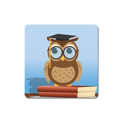 Read Owl Book Owl Glasses Read Square Magnet