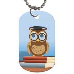 Read Owl Book Owl Glasses Read Dog Tag (Two Sides)