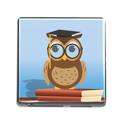 Read Owl Book Owl Glasses Read Memory Card Reader (Square)